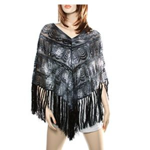 Sweaters - Black Light Lacey Fabric Ombre Colored Poncho